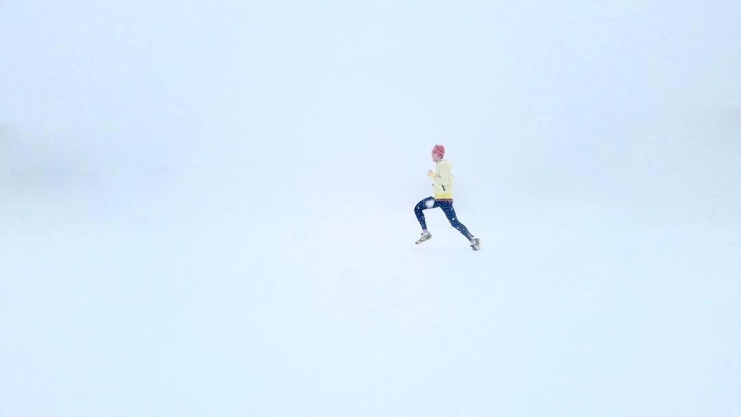 Photo de course à pied dans la neige